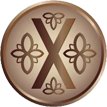 the emblem of penrith town council, a gold circle with flower engravings and a cross in the centre