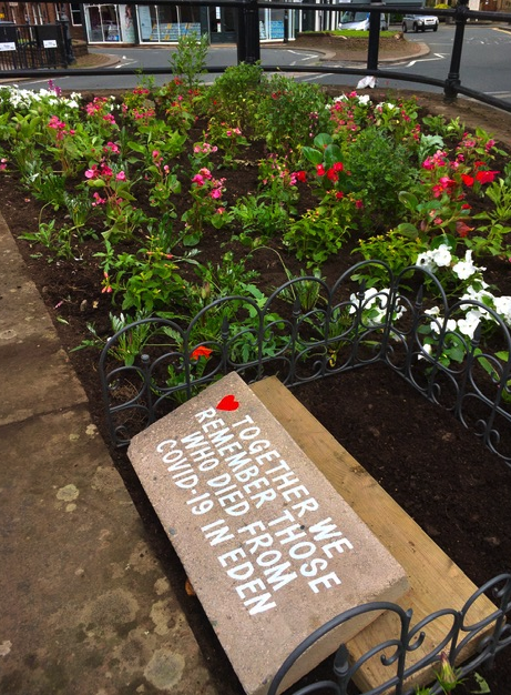 Image of Covid 19 memorial flower bed